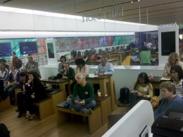 View of the audience at the Microsoft Store during Kevin Sablan's presentation.
